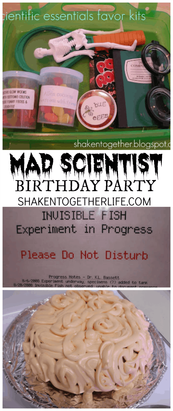 TONS of great ideas for a mad scientist birthday party! It would make an awesome #Halloween party, too!