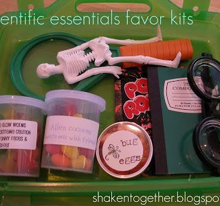Scientific essentials favor kits - just one of the fun ideas for a mad scientist birthday party!