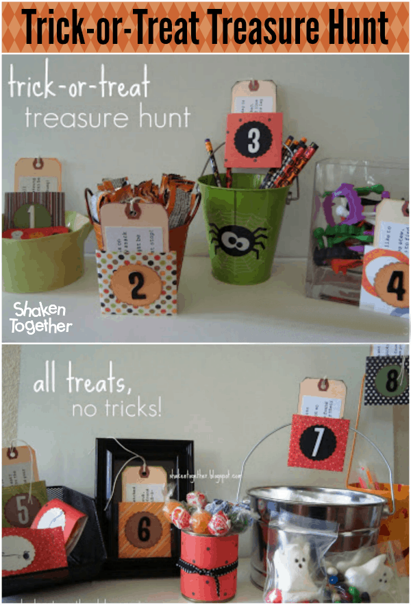 Whether it is raining or you just need a fun activity to keep the kiddos busy for a while, everyone will love this Halloween scavenger hunt ... a Trick-or-Treat Treasure Hunt!!