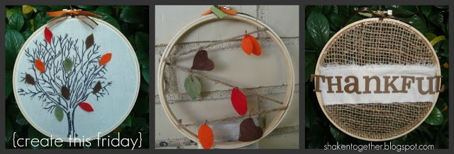 Fall embroidery hoop art at shakentogetherlife.com