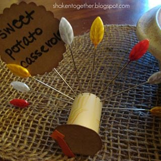 Wine cork turkey place cards & buffet labels at shakentogetherlife.com