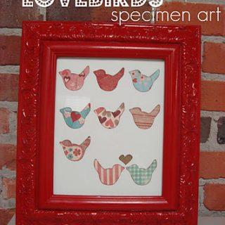 Lovebirds specimen art - so sweet!