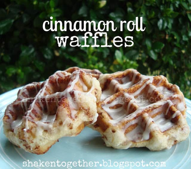 taste this} cinnamon roll waffles at shaken together