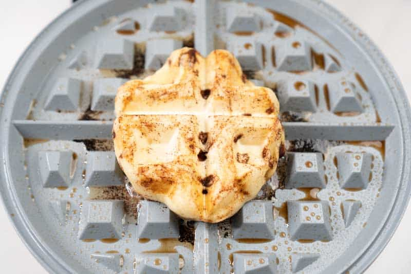 cinnamon bun on waffle maker