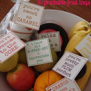 Love this fruit bowl teacher appreciation gifts + printable fruit tags!