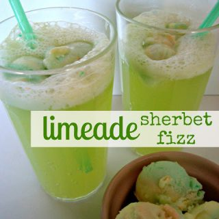 Limeade Sherbet Fizz - a sparkling sherbet punch - great for St. Patrick's Day!