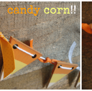 Rustic wooden candy corn banner at shakentogetherlife.com