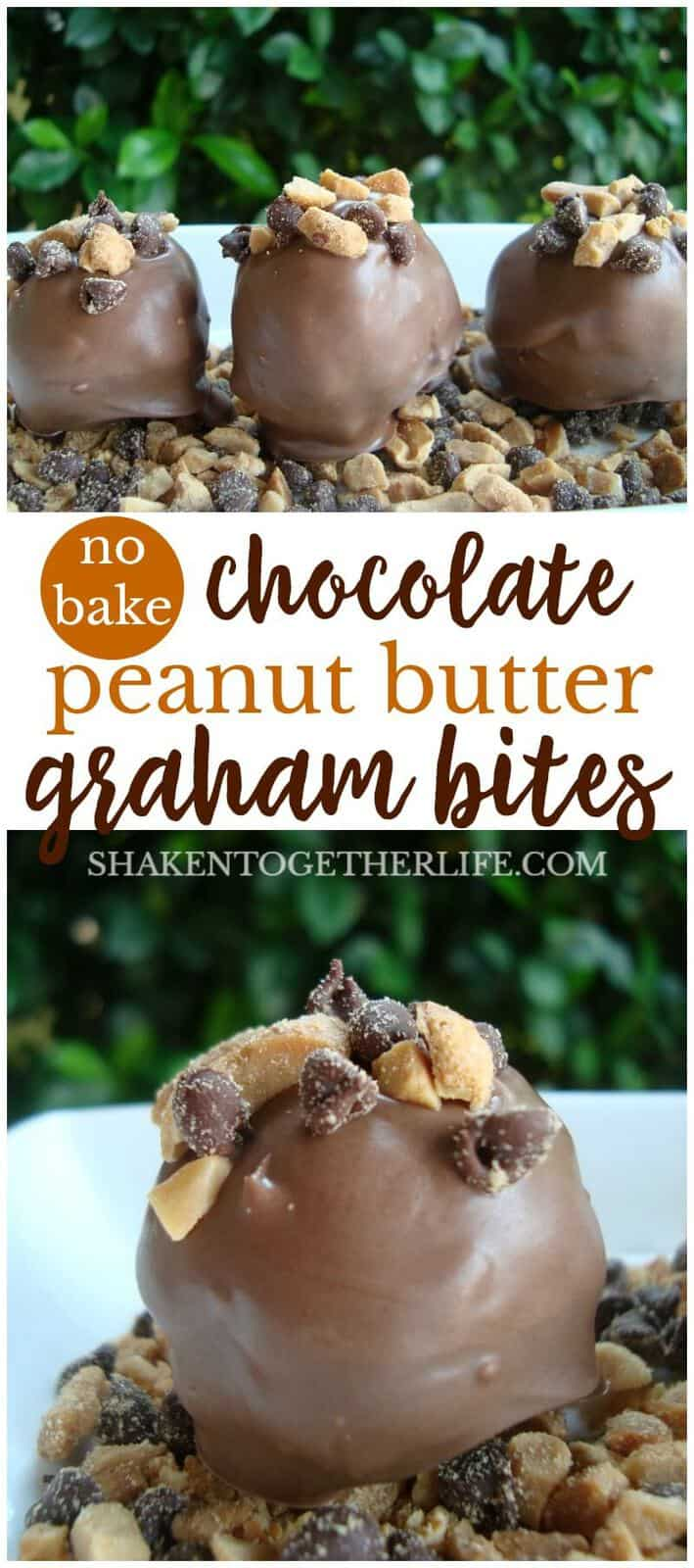 With a crunchy peanut butter inside and creamy chocolate outside, these no bake Chocolate Peanut Butter Graham Bites are wildly addictive and almost too easy to eat!