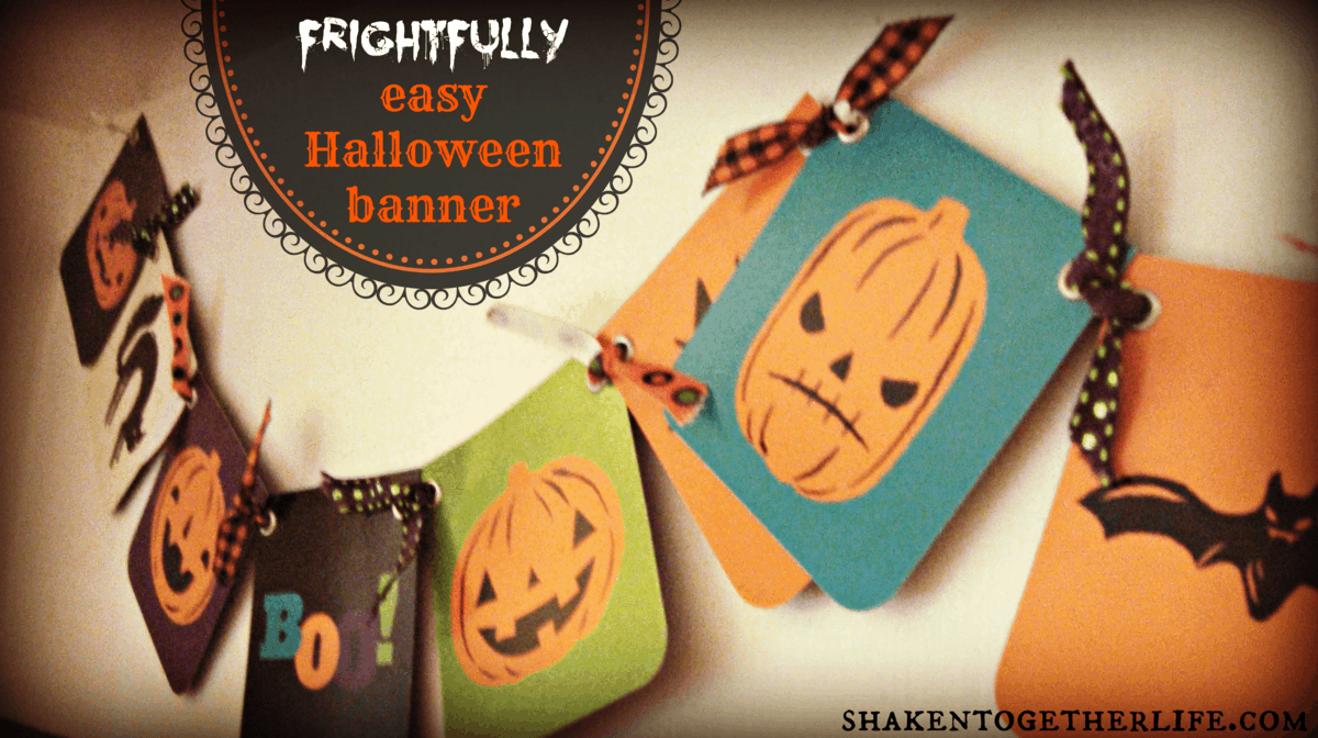 frightfully easy Halloween banner & my Halloween shelf