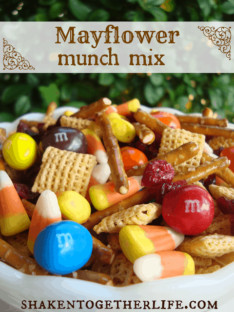Mayflower Munch Mix - easy Thanksgiving snack mix at shakentogetherlife.com