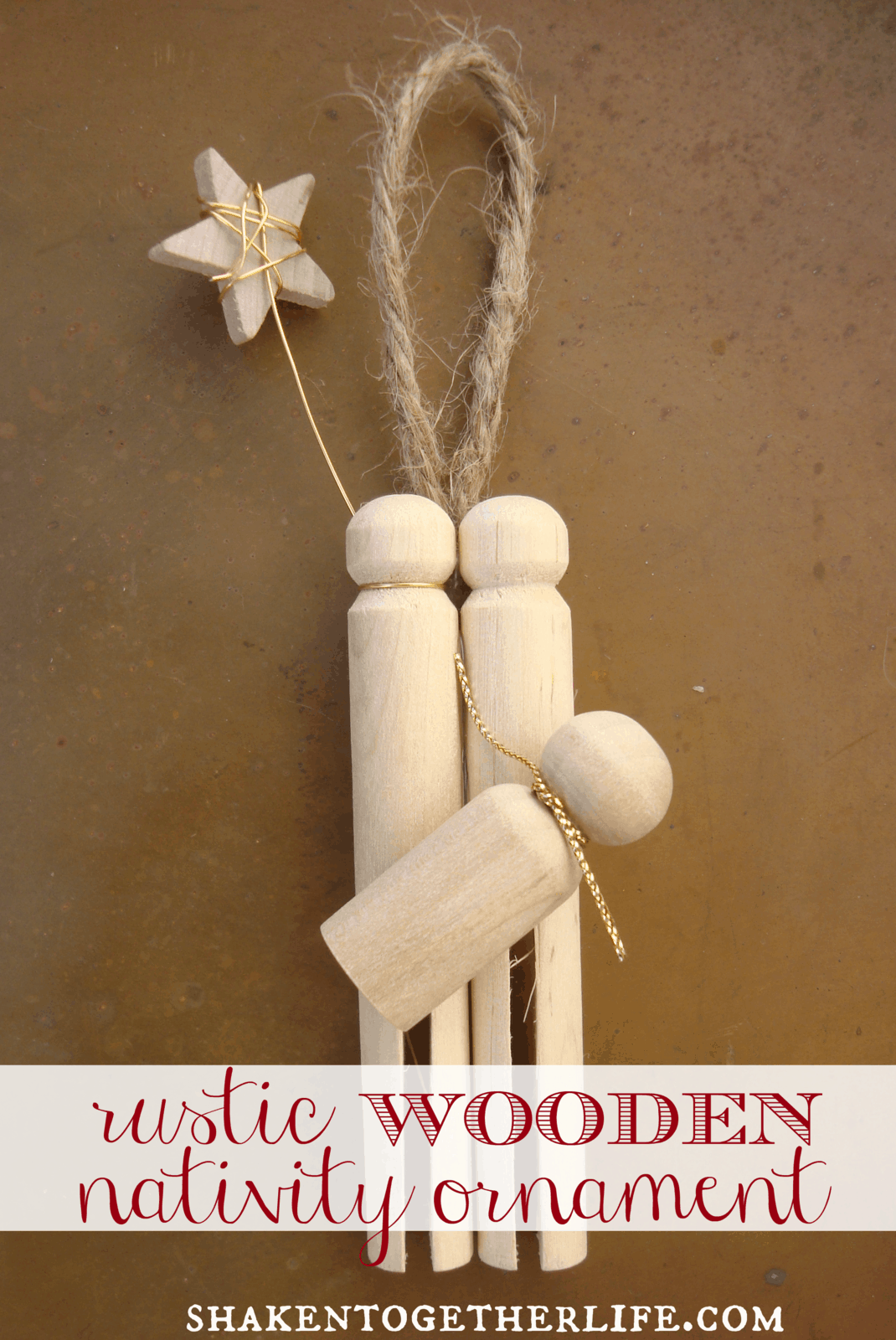 Make a rustic wooden nativity ornament for Nativity crafts to make