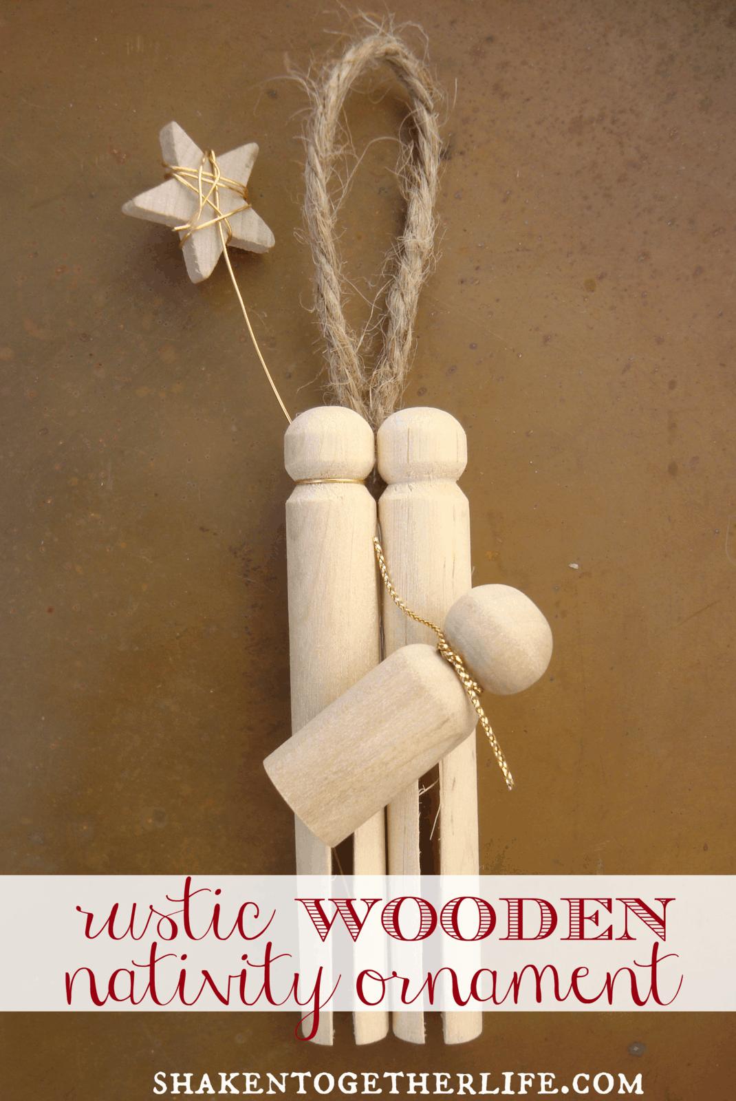 Make a rustic wooden nativity ornament!