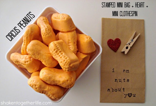"""I am nuts about you"" circus peanuts Valentine from www.shakentogetherlife.com"