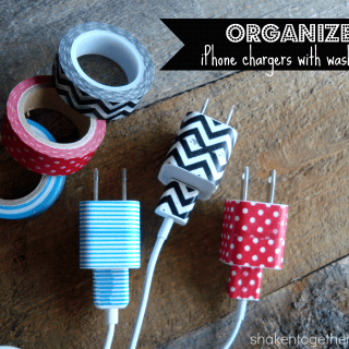 organize iPhone charges with washi tape at shakentogetherlife.com