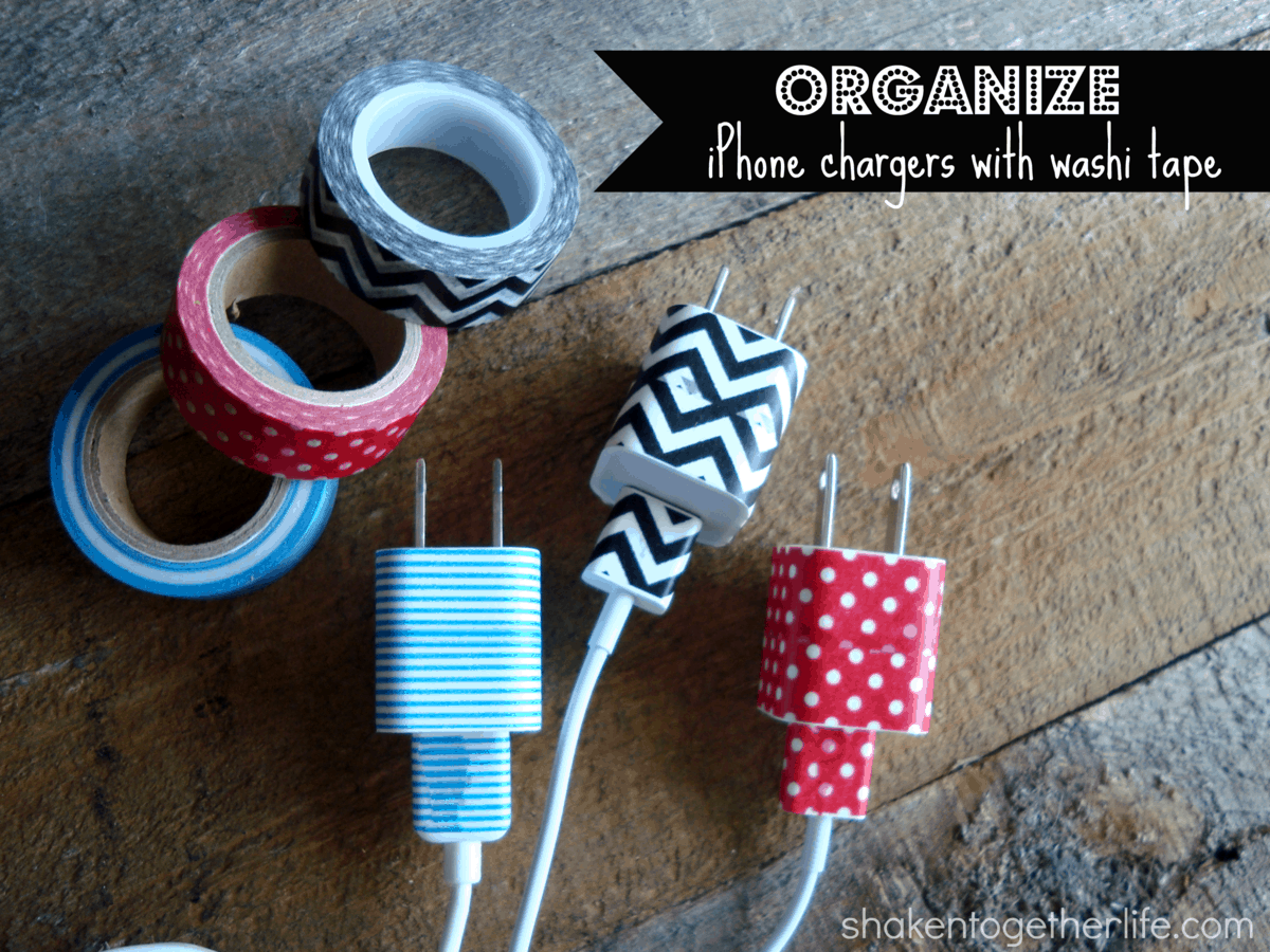 organize your iPhone chargers with washi tape