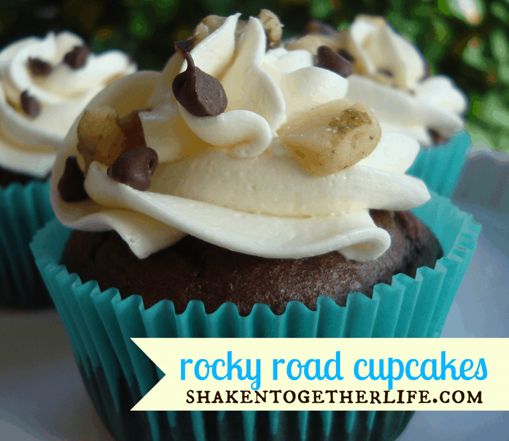 Rocky road cupcakes with fluffy marshmallow frosting!!