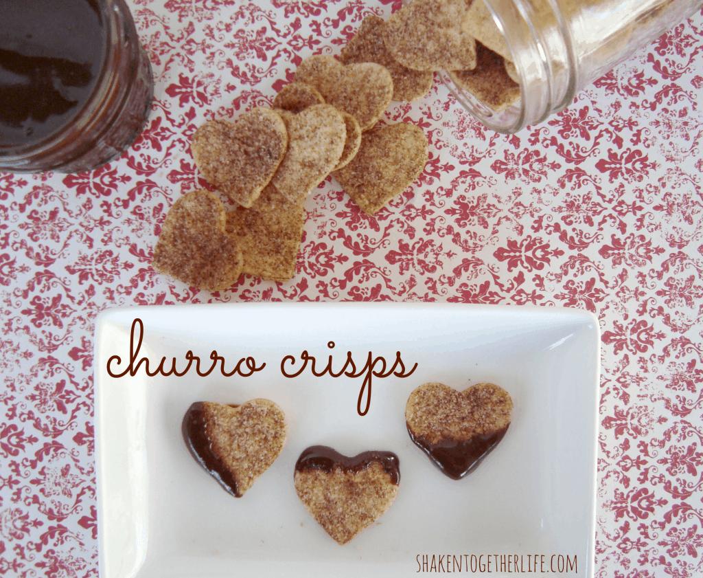 Heart shaped churro crisps to dip in hot fudge sauce - SO yummy!