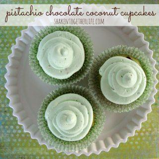 Pistachio Chocolate Coconut Cupcakes
