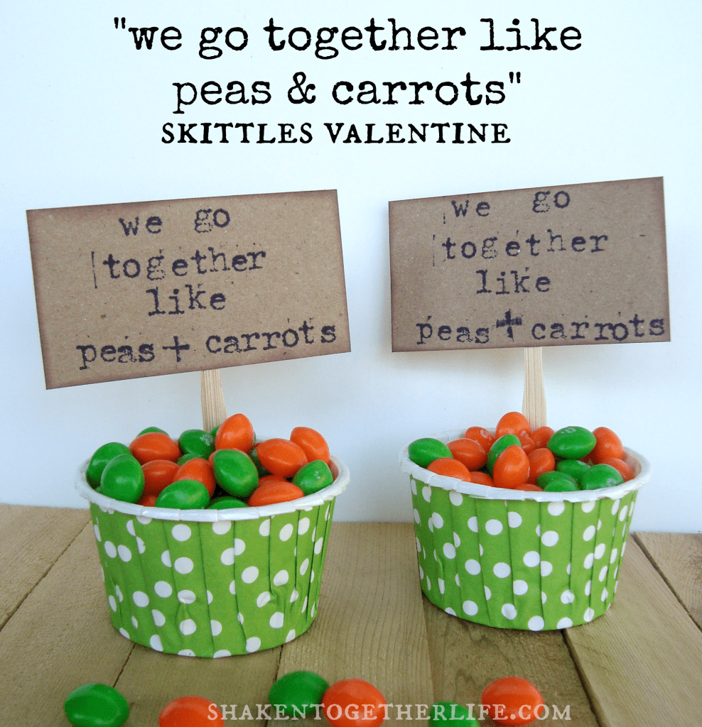 We Go Together Like Peas & Carrots Valentine at shakentogetherlife.com