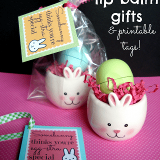 bunny lip balm gifts for Easter & printable tags