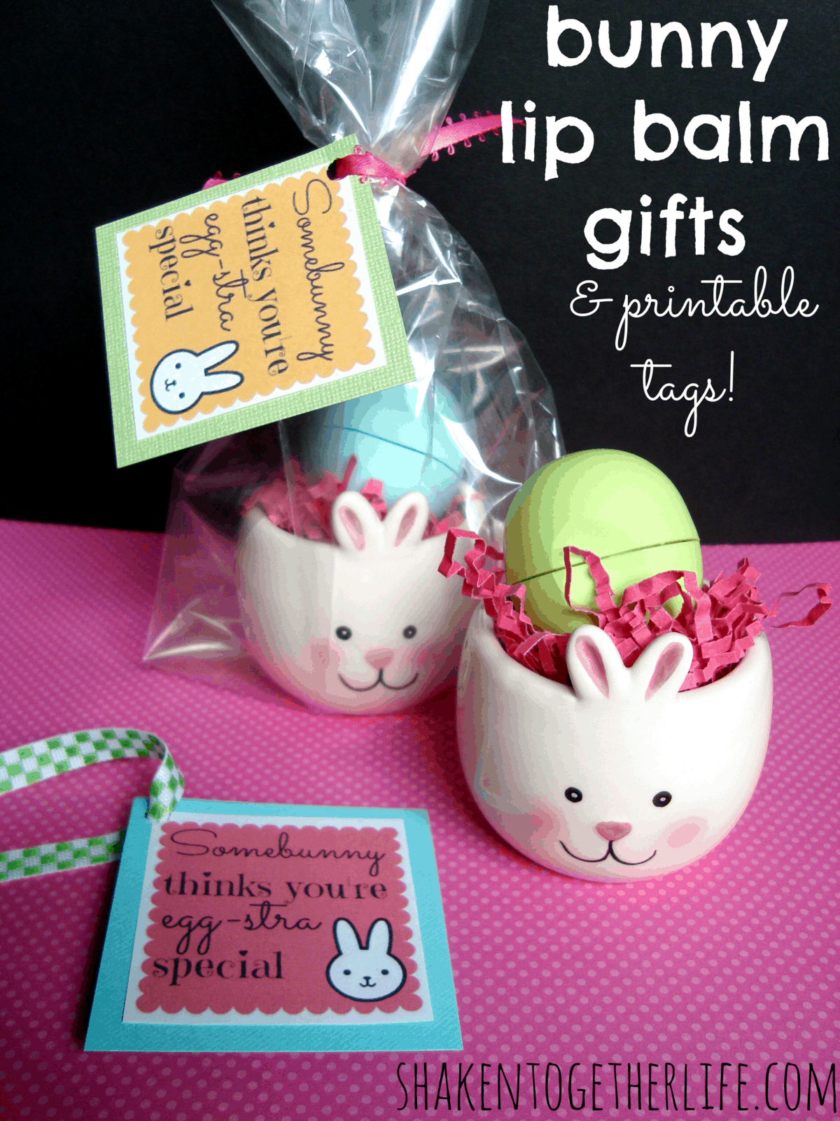 Chocolate filled bunny pretzels bunny lip balm gifts for easter and printable tags negle Choice Image