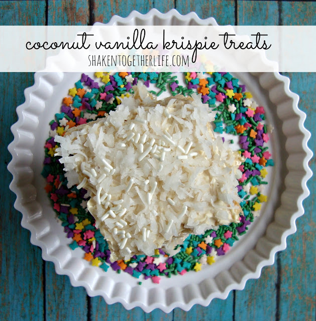 coconut vanilla krispie treats at shakentogetherlife.com