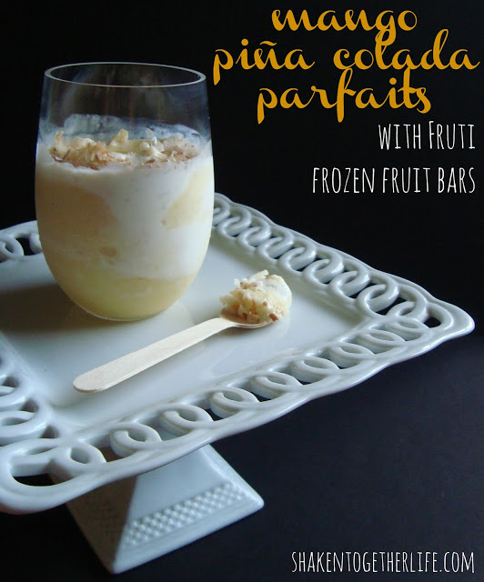 mango piña colada parfaits with Fruti frozen fruit bars at shakentogetherlife.com