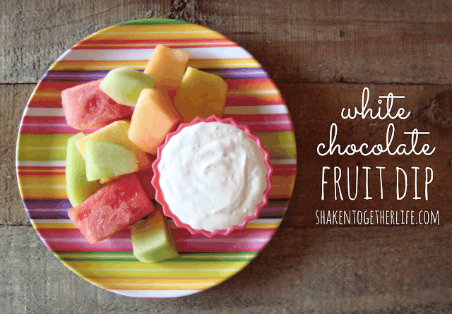 2 ingredient white chocolate fruit dip at shakentogetherlife.com