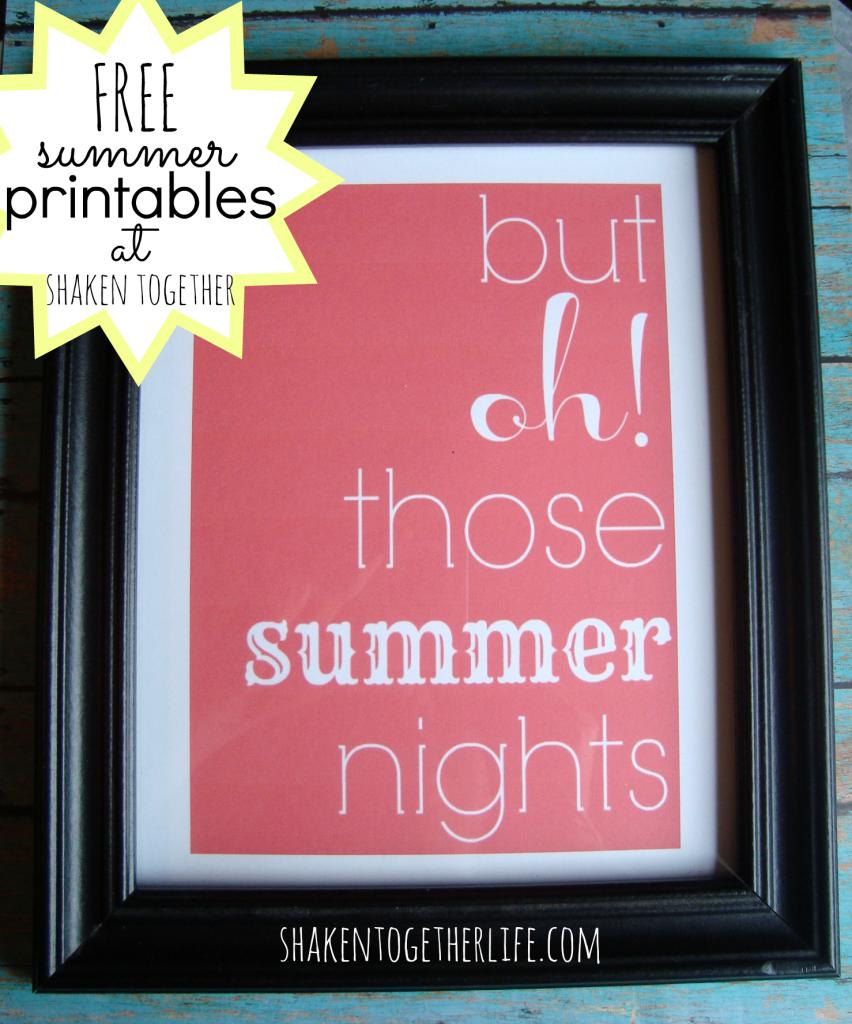 FREE summer printables - framed - at shakentogetherlife