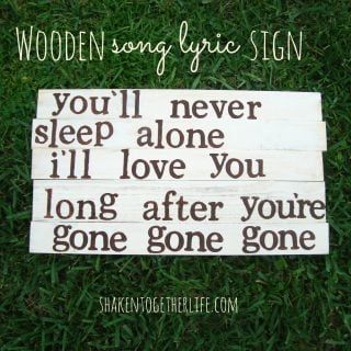 wooden song lyric sign