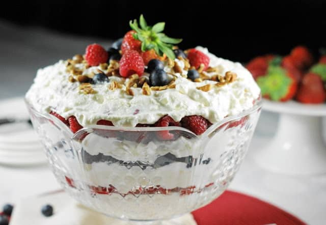 Triple Berry Punch Bowl Cake - The Kitchen is My Playground