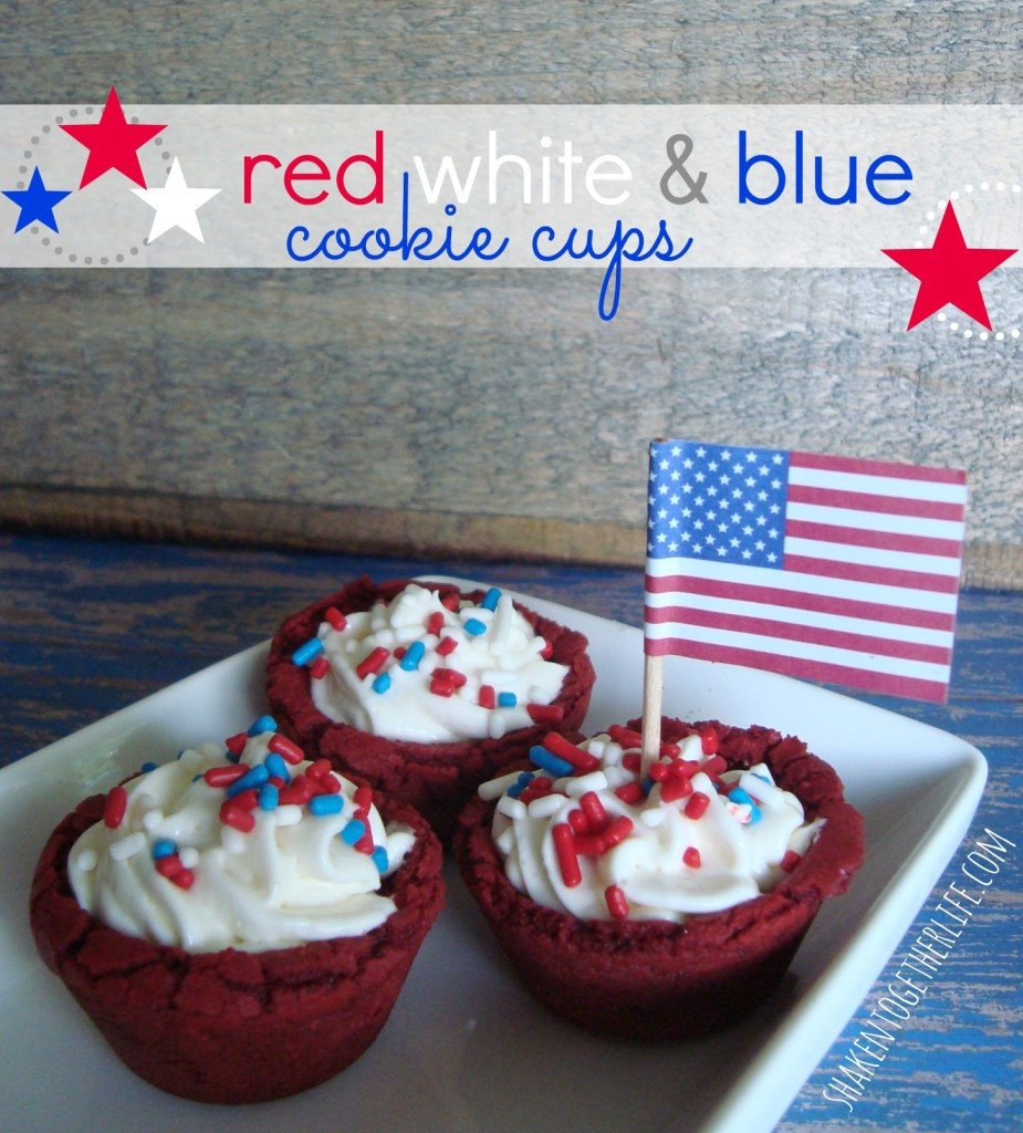 red velvet cheesecake filled patriotic cookie cups at shakentogetherlife.com