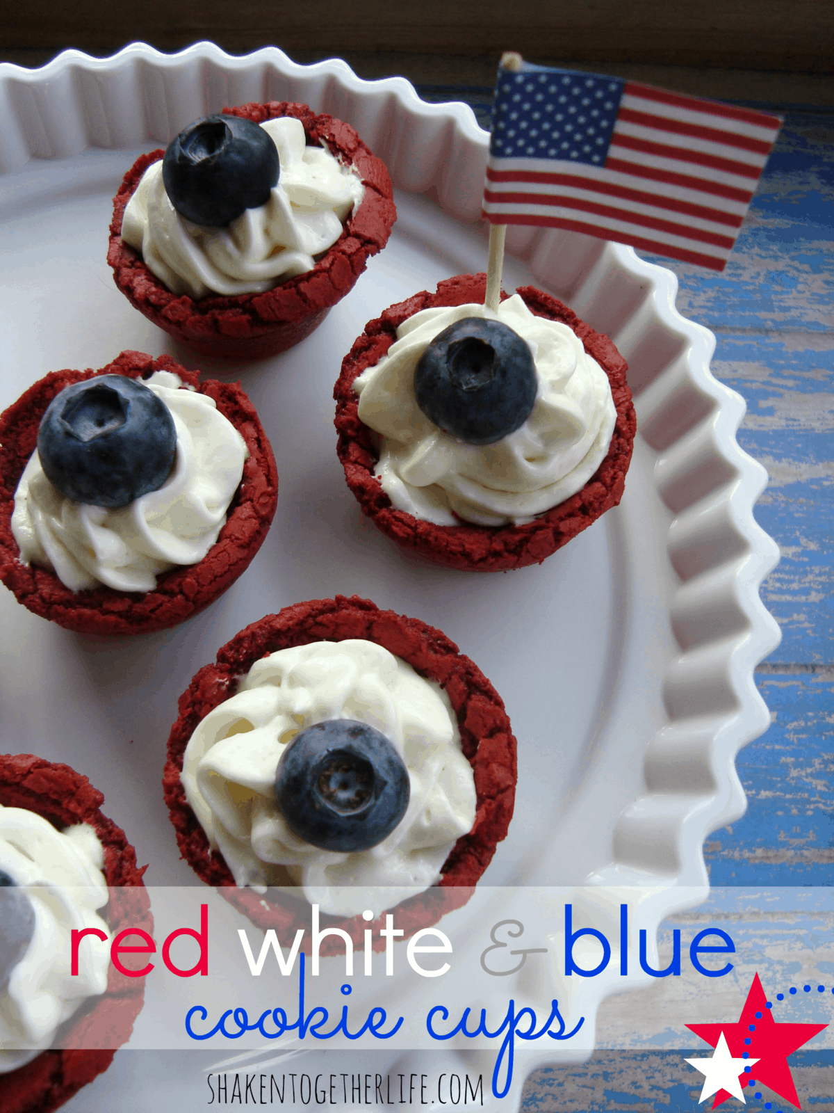 Easy red, white & blue cookie cups at shakentogetherlife.com