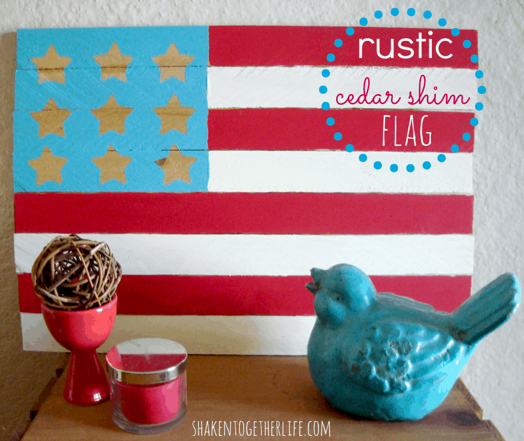 how to make a rustic cedar shim flag at shakentogetherlife.com