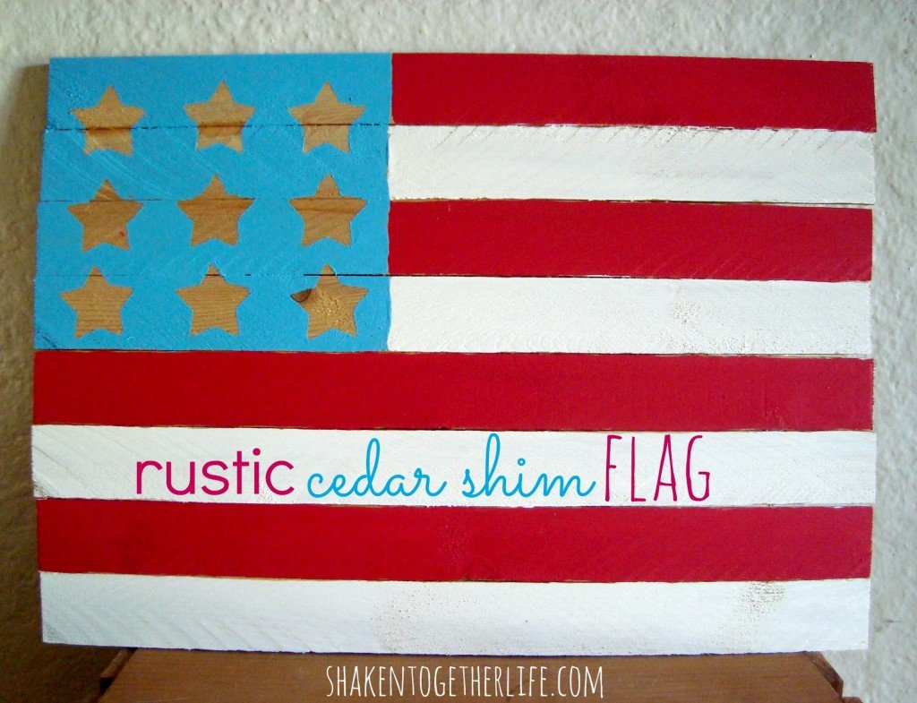 Make a rustic cedar shim flag - easy home decor at shakentogetherlife.com