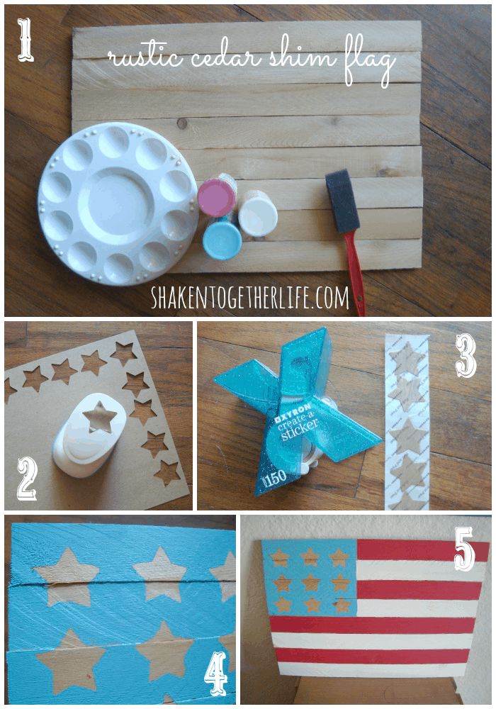 DIY rustic cedar shim flag - tutorial at shakentogetherlife.com