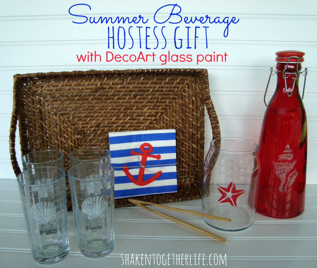 Summer Beverage Hostess Gift with DecoArt glass paint