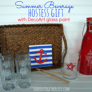 Summer beverage hostess gift with DecoArt glass paint & GIVEAWAY!!