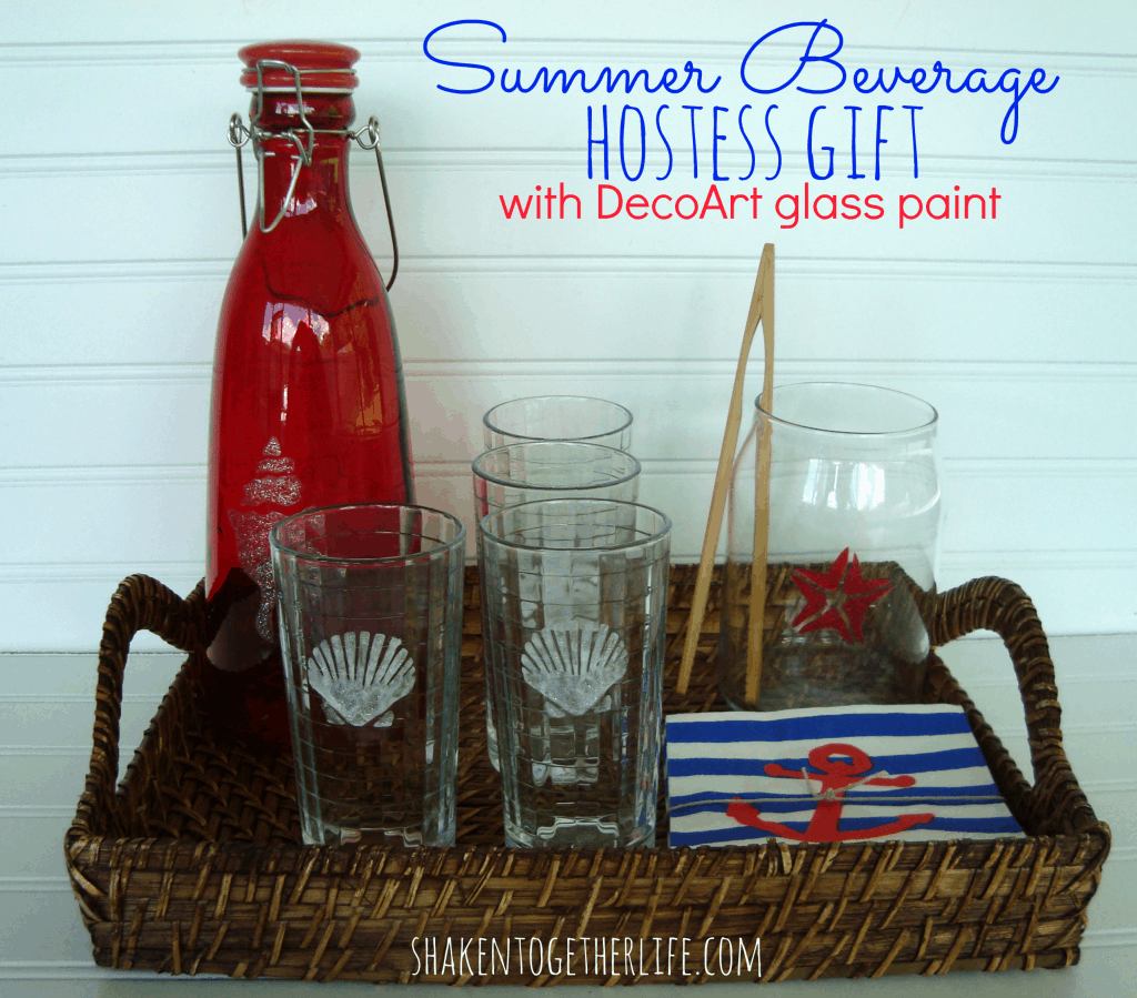 Summer beverage hostess gift & DecoArt glass paint tutorial at shakentogetherlife.com