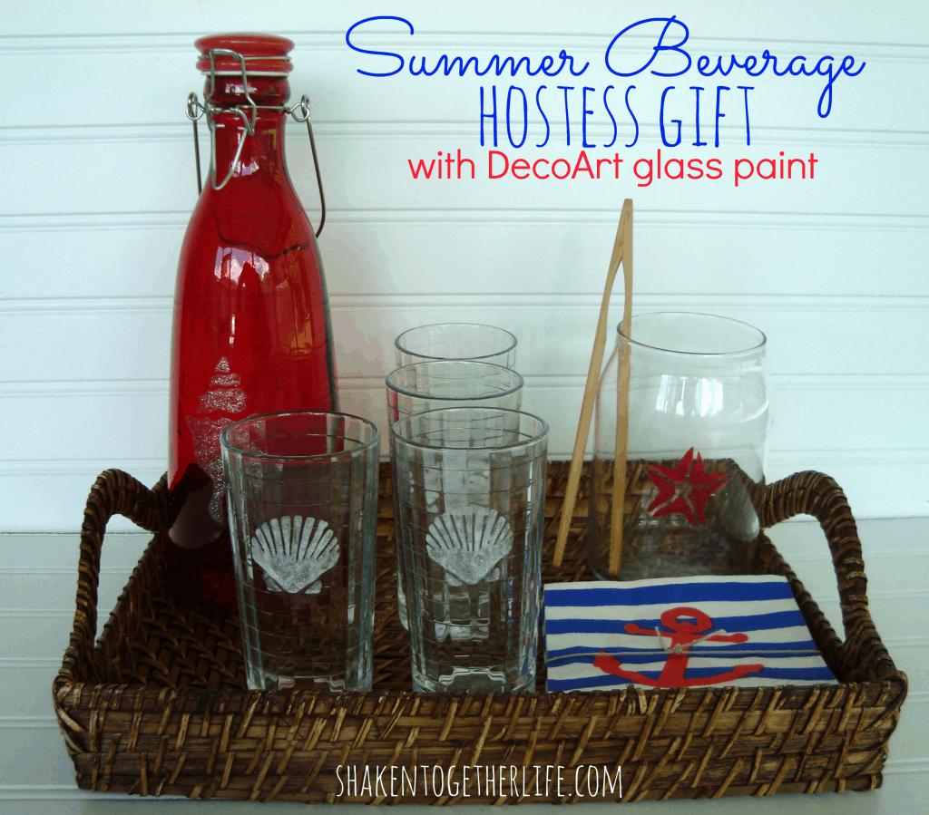 Summer beverage hostess gift & DecoArt glass paint tutorial at shakentogetherlife.com