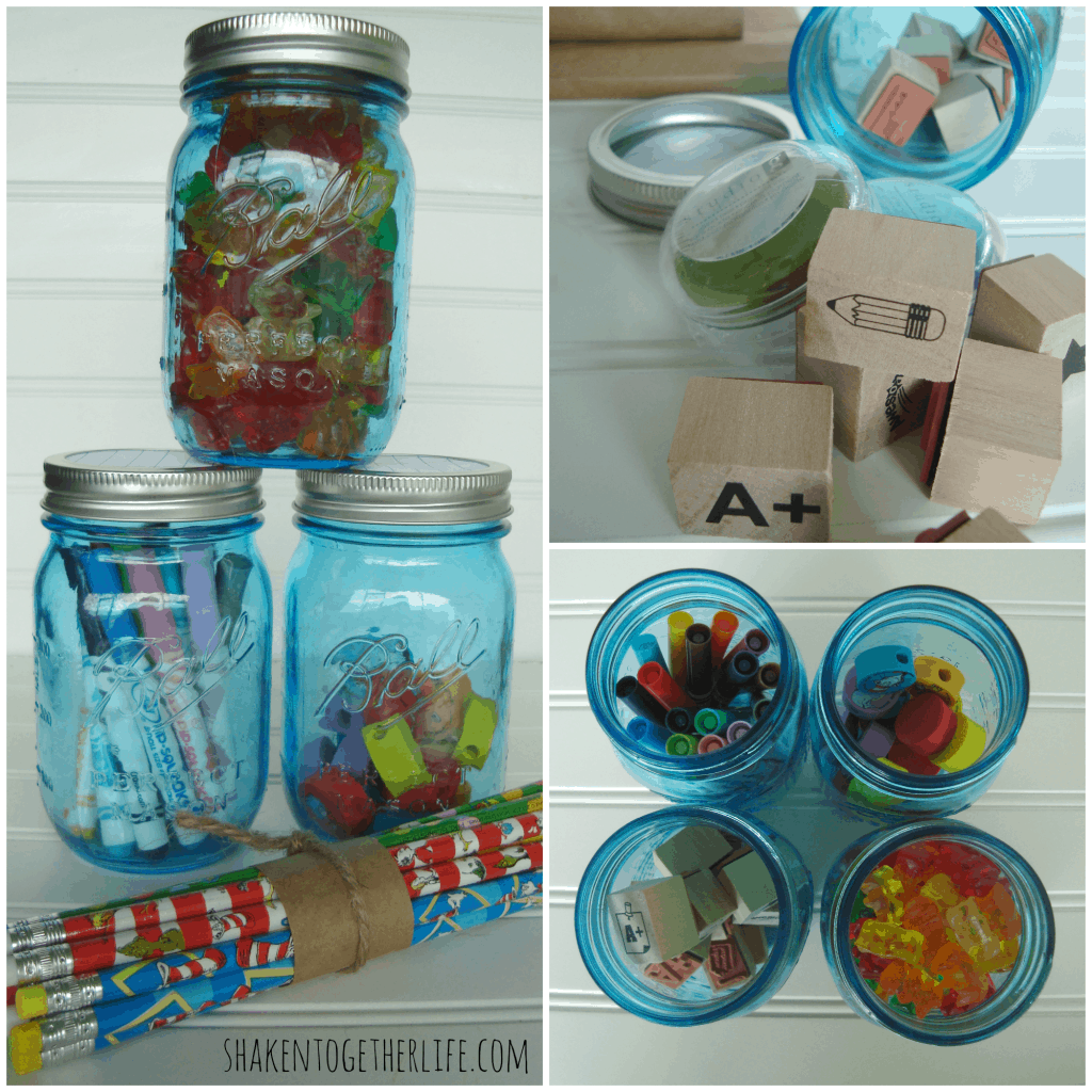 Vintage blue mason jars hold teacher supplies & treats at shakentogetherlife.com