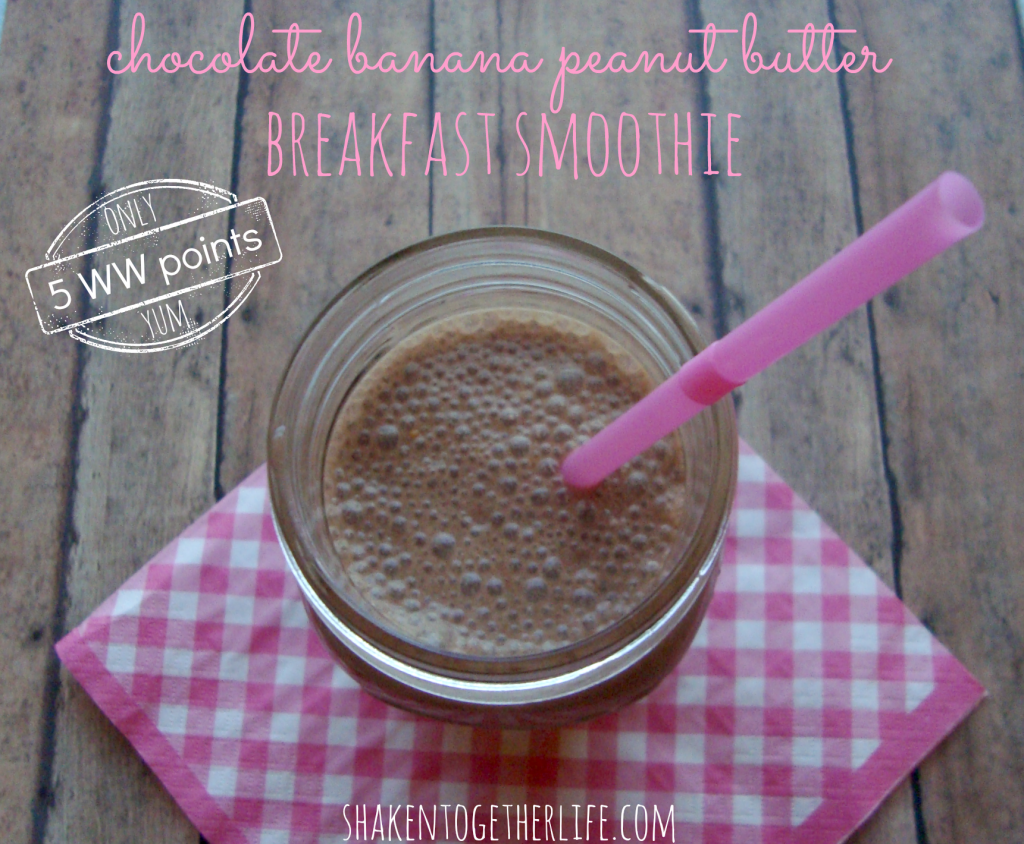 chocolate banana peanut butter breakfast smoothie at shakentogetherlife.com