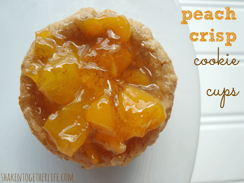 Quick peach crisp cookie cups at shakentogetherlife.com