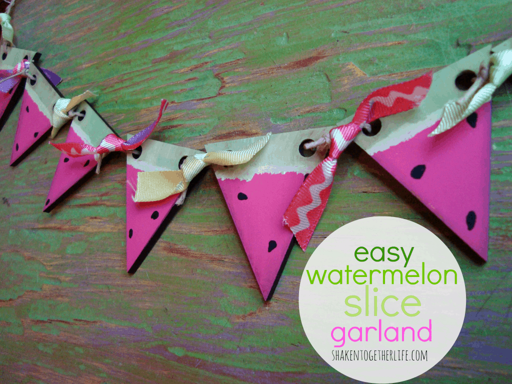 easy watermelon slice garland  tutorial at shakentogetherlife.com