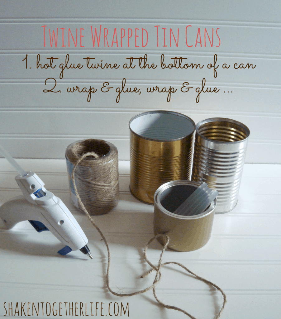 nautical tin can organizer twine wrapped tin cans