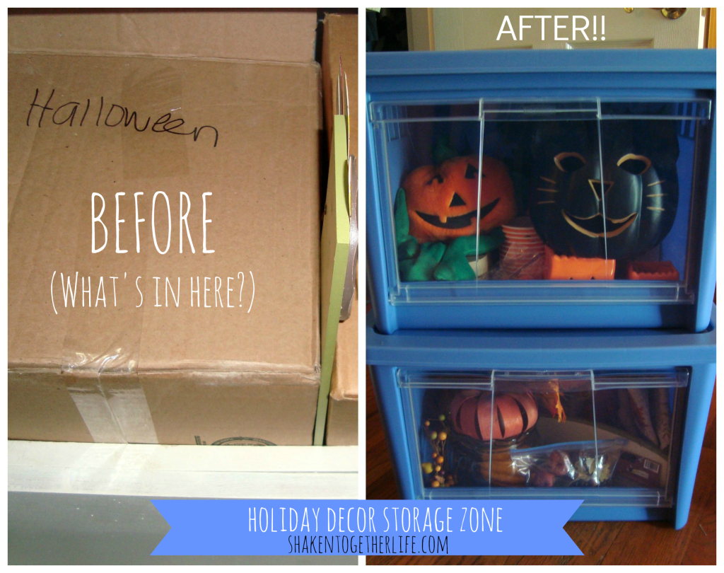 Organize holiday decor with Rubbermaid All Access Organizers