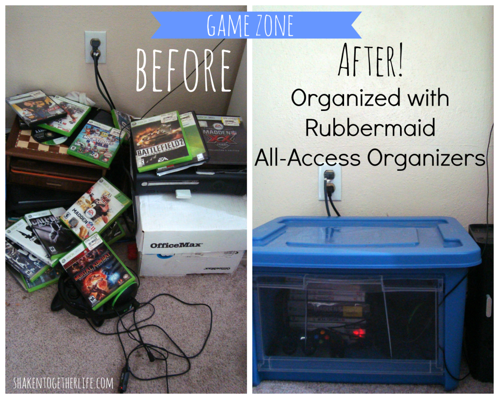 Organize your game zone with Rubbermaid All Access organizers at shakentogetherlife.com