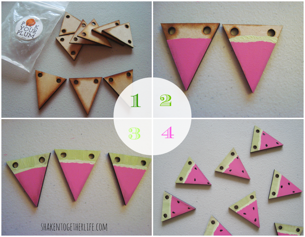 watermelon slice garland :: quick Summer craft tutorial at shakentogetherlife.com