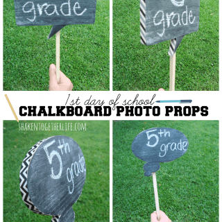 1st day of school chalkboard photo props with washi tape at shakentogetherlife.com
