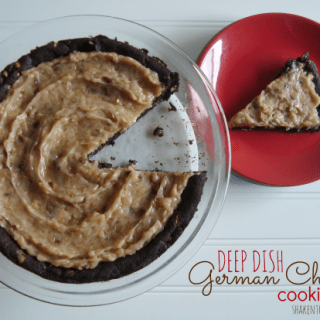 2 ingredient deep dish German chocolate cookie pizza at shakentogetherlife.com
